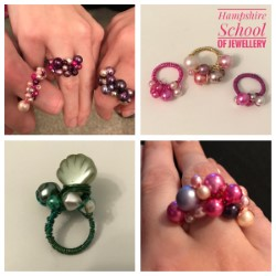 Beaded Bubble Rings made with Hampshire School of Jewellery