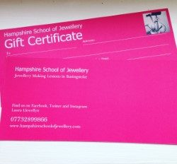 Gift Vouchers for Hampshire School of Jewellery