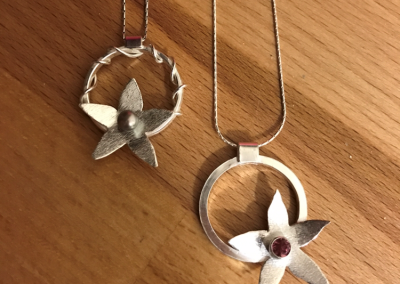 Silver flower necklace duo