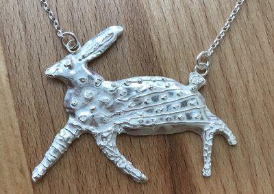 Silver clay hare pendant