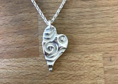 Silver art clay heart pendant