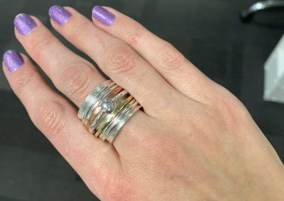 Large silver spinning ring