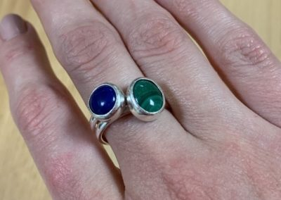 Silver and gemstone ring