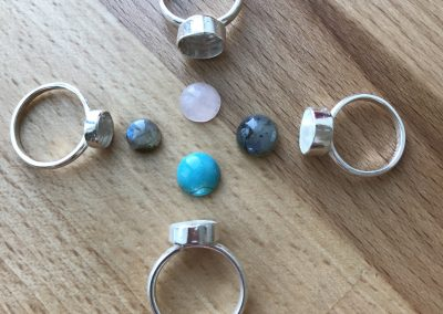Gemstone rings in progress