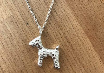 Silver clay dog pendant