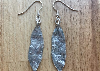 Silver earrings made on Beginners Silver Jewellery Making at Hampshire School of Jewellery in Basingstoke
