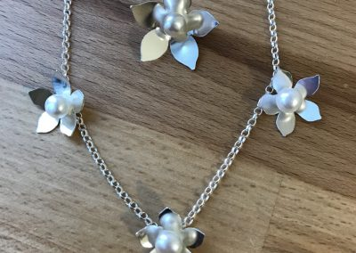 Silver and pearl jewellery