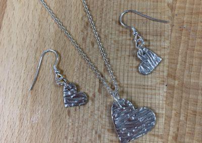 Silver art clay heart jewellery