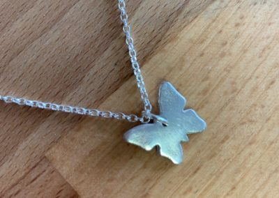Silver art clay butterfly pendant