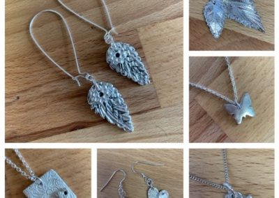 Selection of silver art clay student work