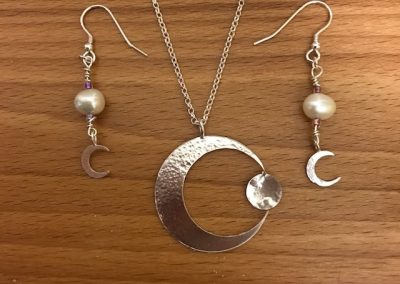 Moon pendant and earrings