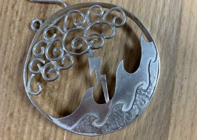 Silver stormy night brooch