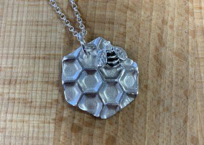 Silver art clay bee pendant