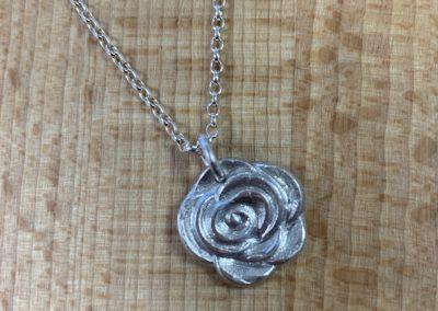 Silver art clay rose pendant