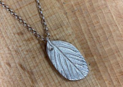 Silver art clay leaf pendant