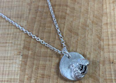 Silver clay bee pendant