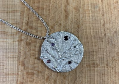 Round silver art clay pendant