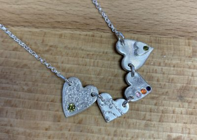 Silver art clay heart necklace