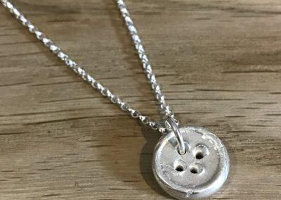 Silver art clay button pendant