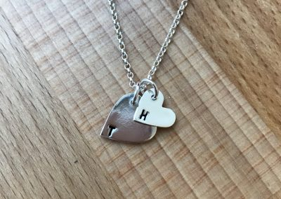 Silver art clay heart pendants
