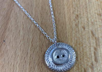 Silver clay button pendant