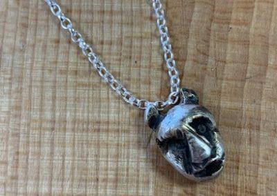Silver clay devil pendant