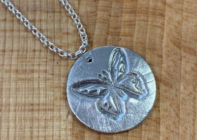 Silver clay butterfly pendant