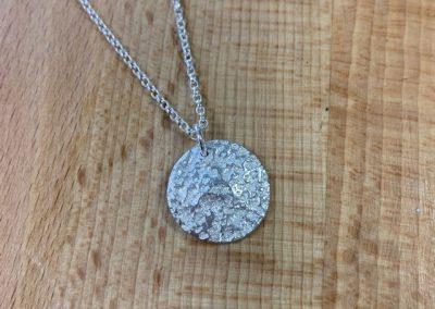 Silver clay round pendant