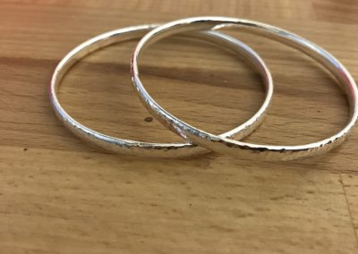 Silver bangles made on Beginners Silver Jewellery Making at Hampshire School of Jewellery in Basingstoke