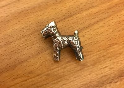 silver clay dog brooch
