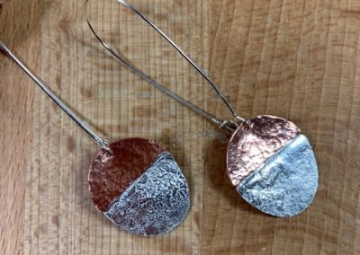 Silver and copper textured earrings