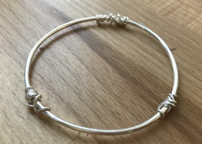 Silver bangle with twisted wire made on Beginners Silver Jewellery Making at Hampshire School of Jewellery in Basingstoke