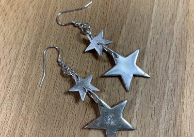 Silver clay star earrings