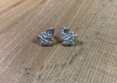 Silver art clay hristmas tree earrings