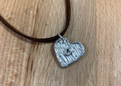 Silver art clay heart pendant