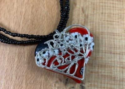 Silver art clay and murano glass heart pendant