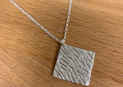 Silver art clay square pendant