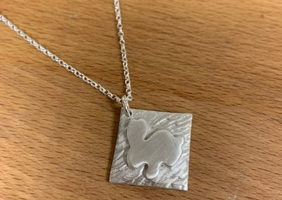 Silver art clay bunny pendant