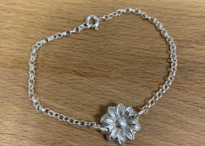 Silver clay flower bracelet