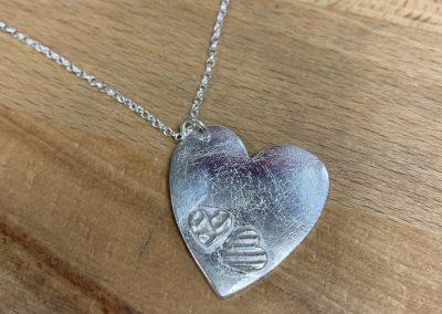 Silver clay heart pendant
