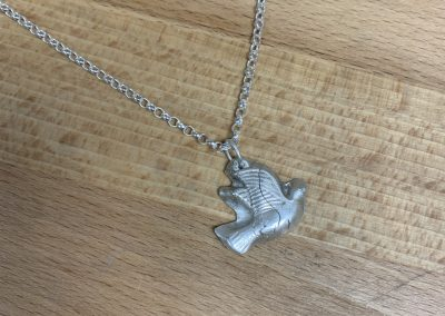 Silver art clay dove pendant