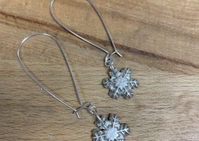 Silver art clay snowflake earrings