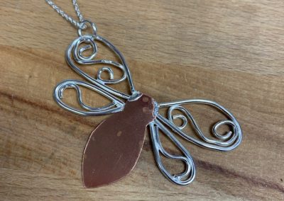 Silver and copper butterfly pendant