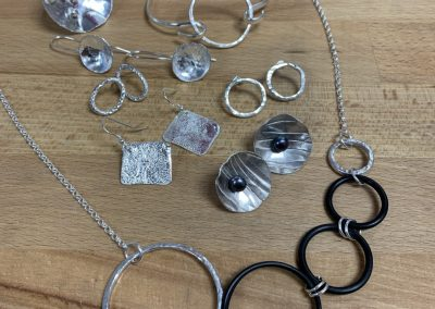 Collection of work made on Beginners Silver Jewellery Making at Hampshire School of Jewellery in Basingstoke
