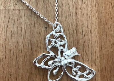 Silver art clay syringe butterfly pendant