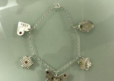 Silver art clay charm bracelet