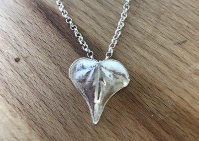 Silver clay leaf pendant