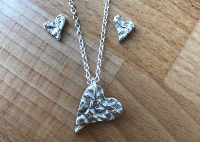 Silver art clay heart earrings