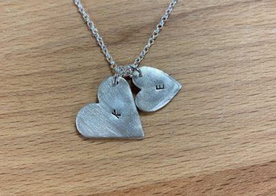 Silver clay heart pendants