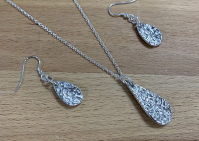 silver clay pendant and earrings